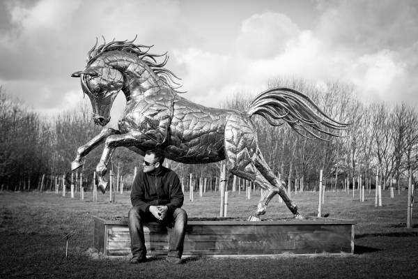 Michael Turner and horse sculpture