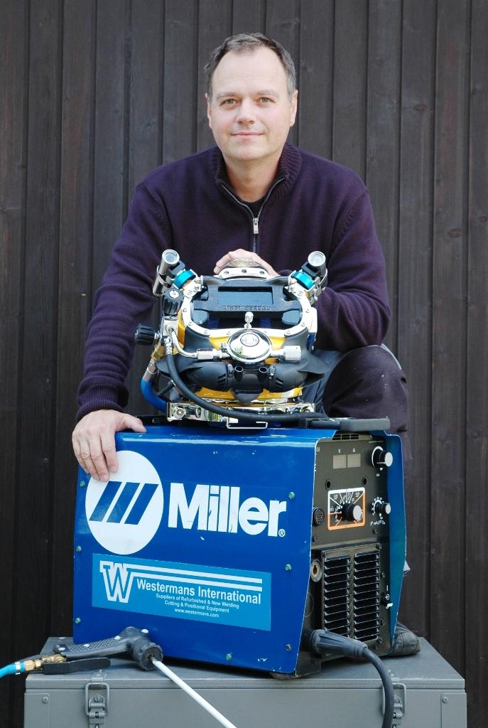 Thomas Pinzl with his new underwater welding equipment