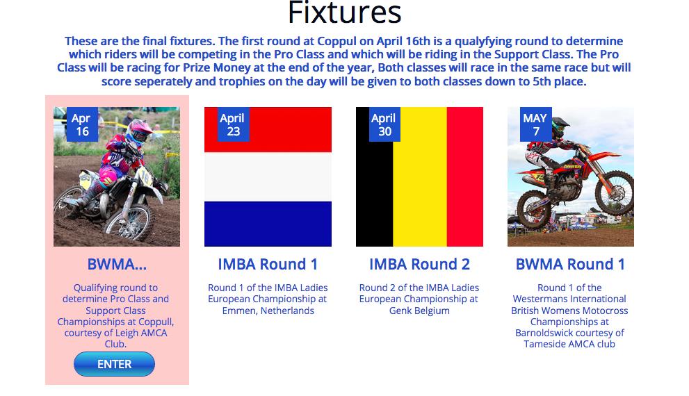 First Race Fixtures BWMA