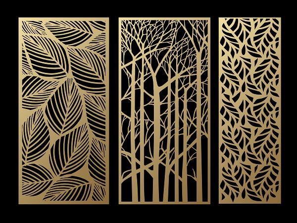Plasma cut foliage metal panel