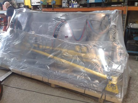 Packaged and ready for despatch an ESAB cutting machine