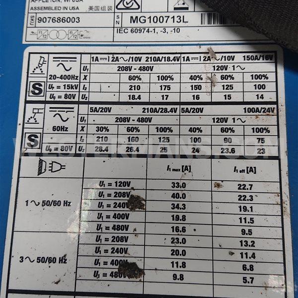 Miller Dynasty 210 DX AC/DC Tig Welder Auto Line voltage