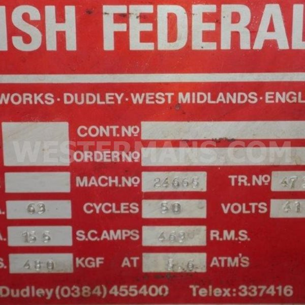 British Federal Resistance Welding Machine 63 kva
