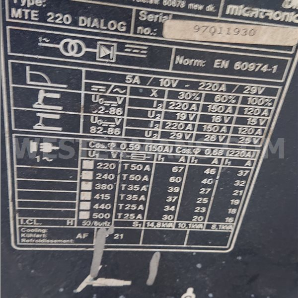 Migatronic MTE 220 AC/DC Squarewave TIG welder